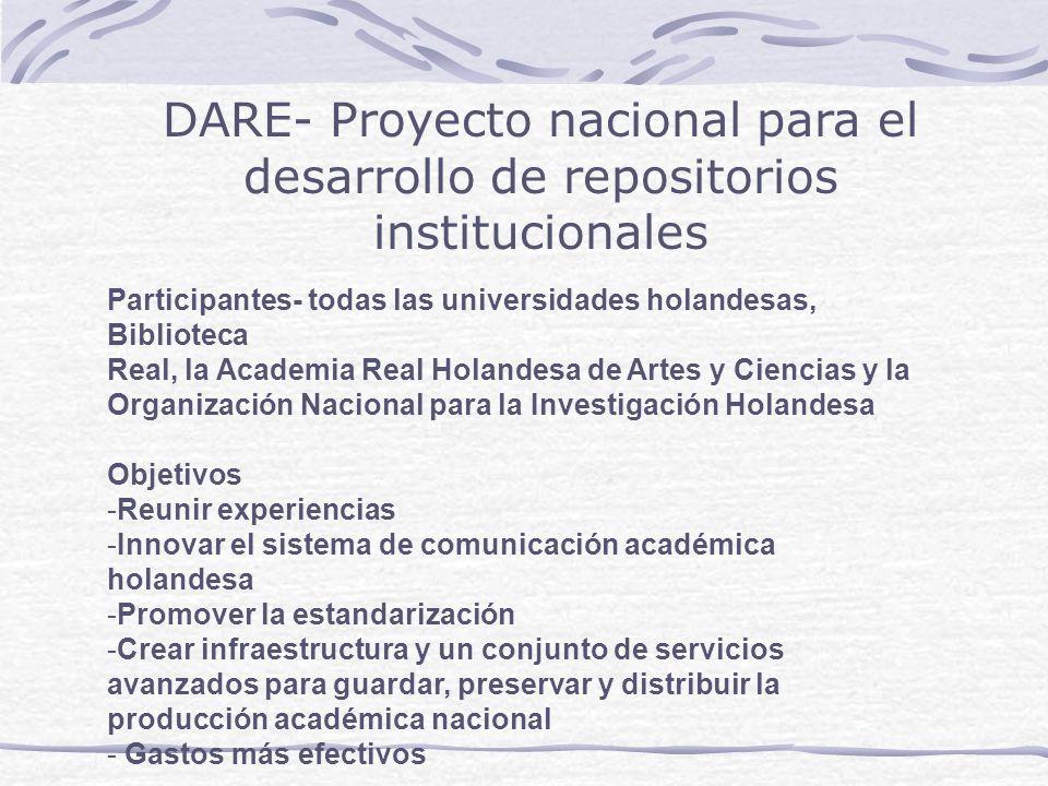 DARE- Proyecto nacional para el desarrollo de repositorios institucionales