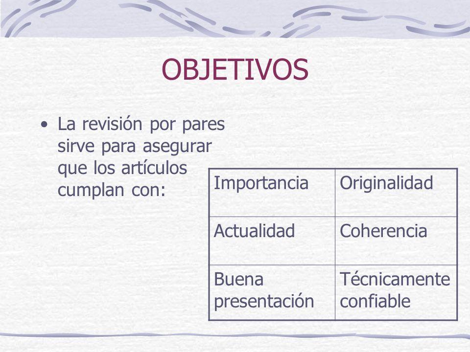 OBJETIVOS La revisión por pares sirve para asegurar que los artículos cumplan con: Importancia. Originalidad.