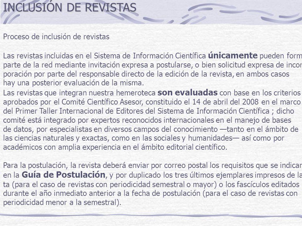INCLUSIÓN DE REVISTAS Proceso de inclusión de revistas