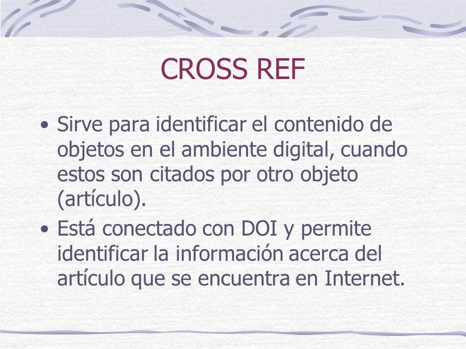 CROSS REF Sirve para identificar el contenido de objetos en el ambiente digital, cuando estos son citados por otro objeto (artículo).
