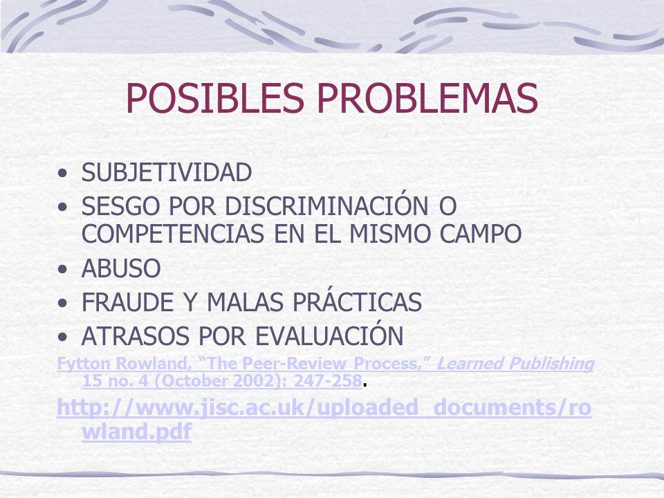 POSIBLES PROBLEMAS SUBJETIVIDAD