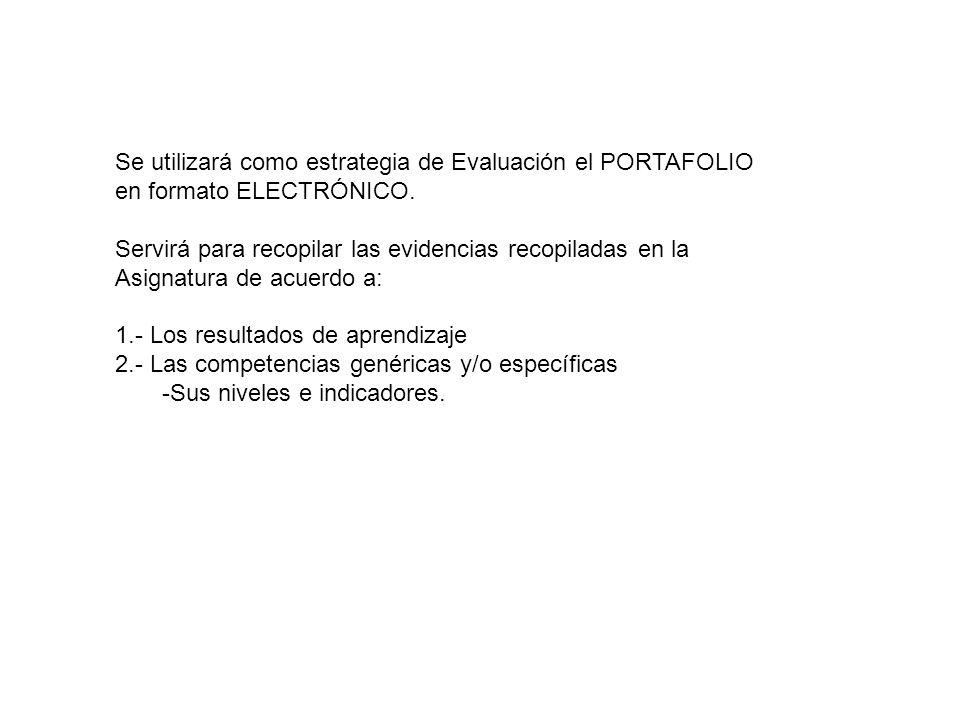 Se utilizará como estrategia de Evaluación el PORTAFOLIO en formato ELECTRÓNICO.
