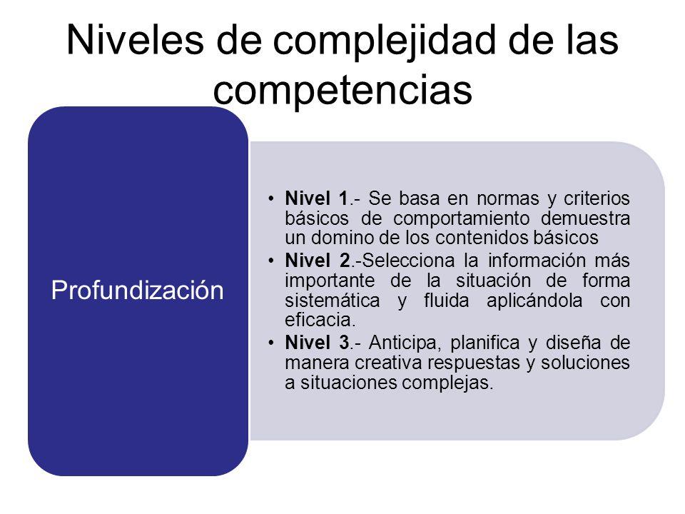 Niveles de complejidad de las competencias