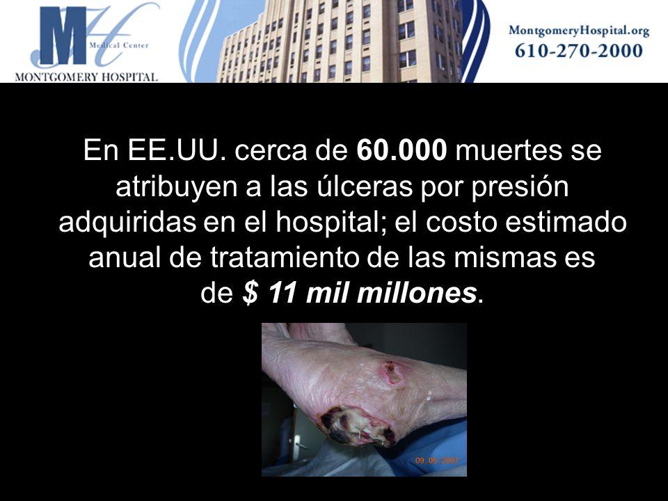 En EE.UU. cerca de 60.000 muertes se atribuyen a las úlceras por presión adquiridas en el hospital; el costo estimado anual de tratamiento de las mismas es