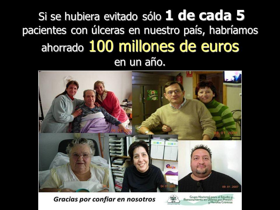 Si se hubiera evitado sólo 1 de cada 5 pacientes con úlceras en nuestro país, habríamos ahorrado 100 millones de euros en un año.