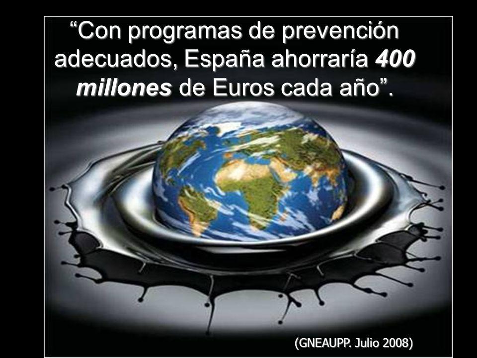Con programas de prevención adecuados, España ahorraría 400 millones de Euros cada año .