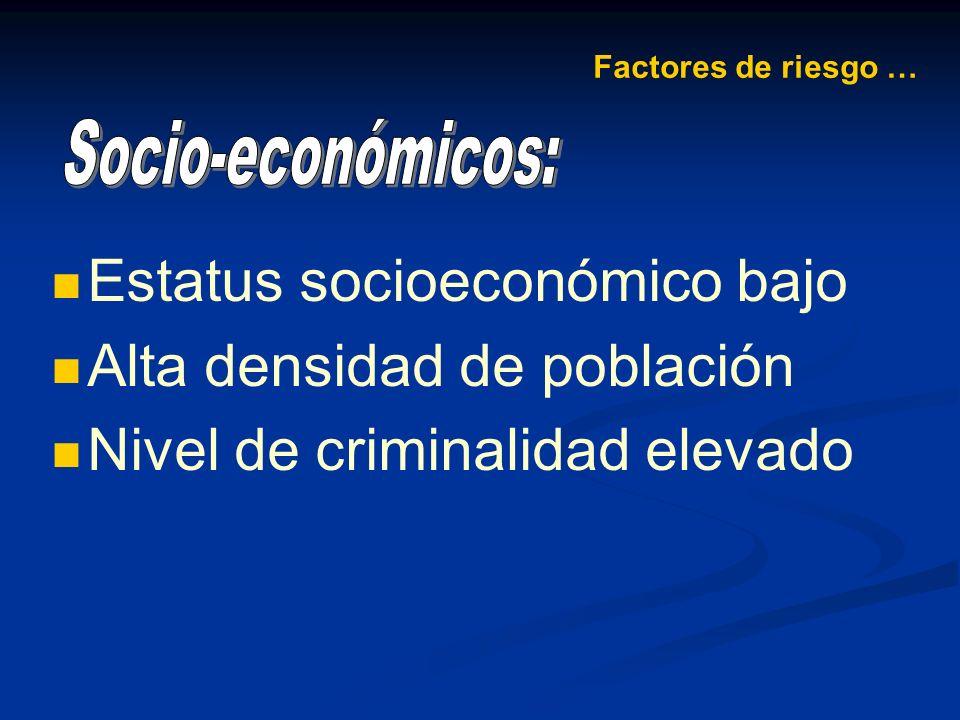 Estatus socioeconómico bajo Alta densidad de población