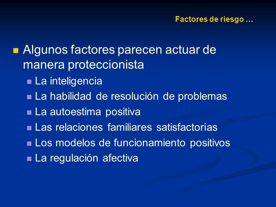 Algunos factores parecen actuar de manera proteccionista