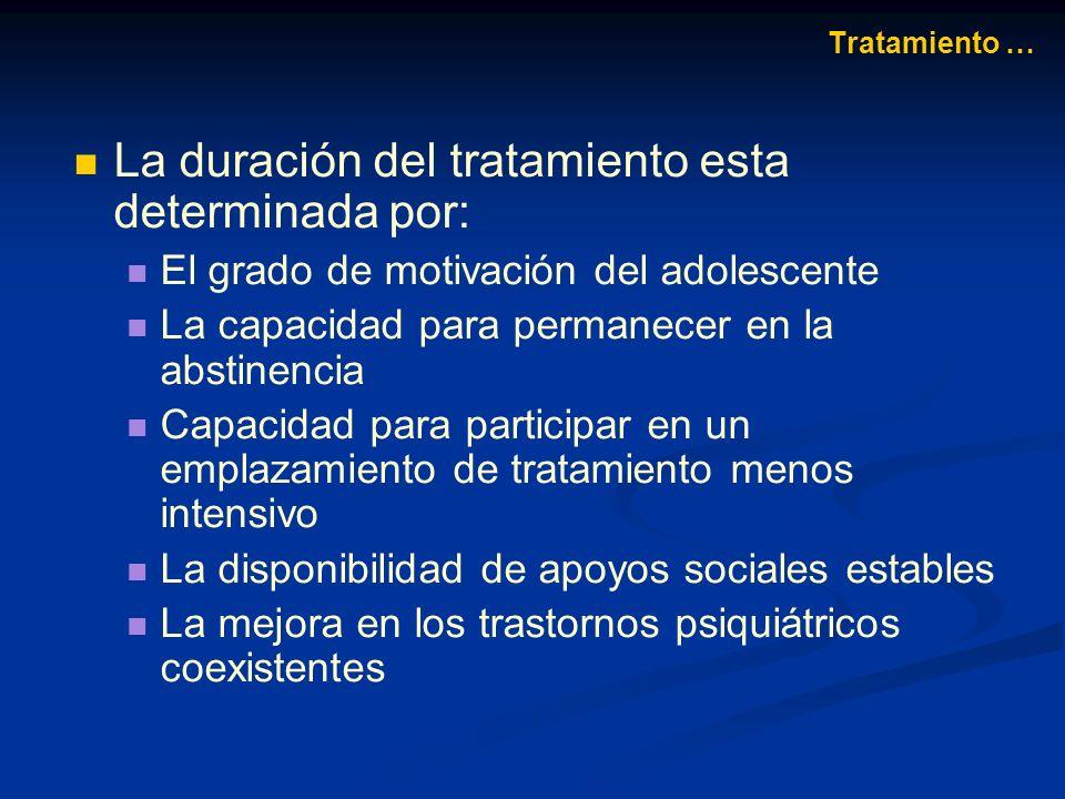 La duración del tratamiento esta determinada por: