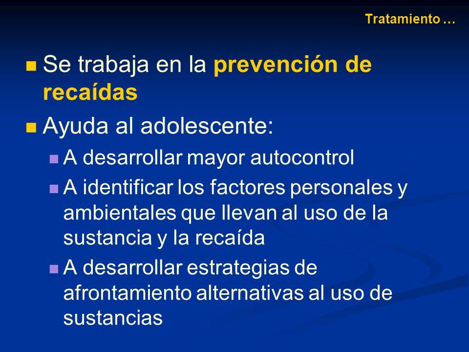 Se trabaja en la prevención de recaídas Ayuda al adolescente:
