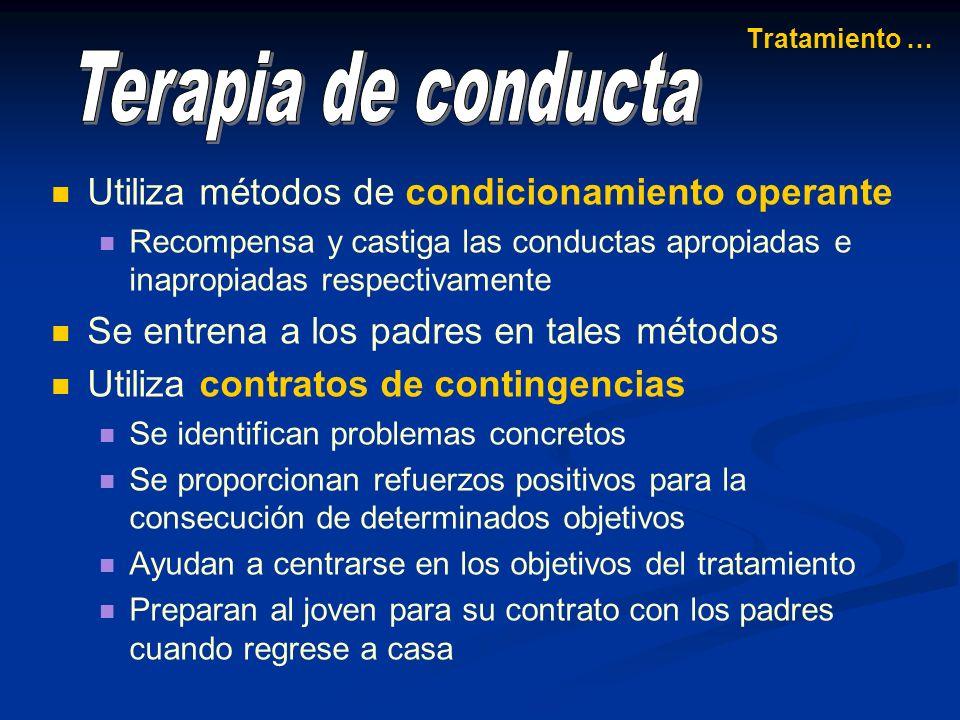 Terapia de conducta Utiliza métodos de condicionamiento operante