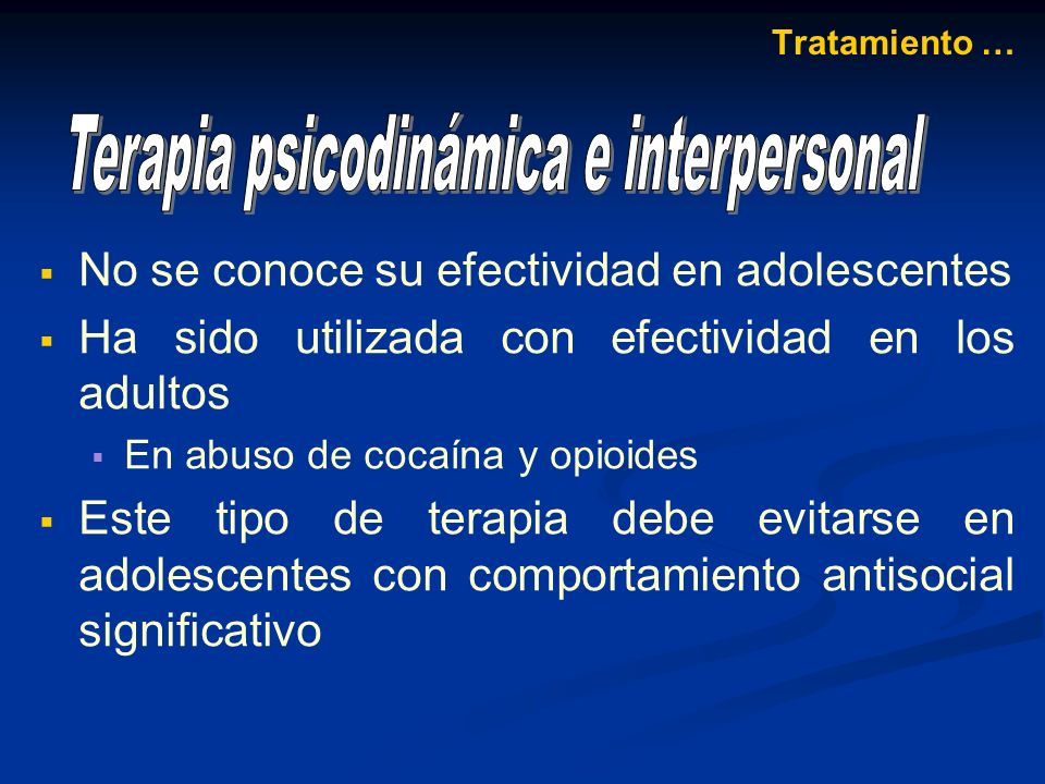 Terapia psicodinámica e interpersonal