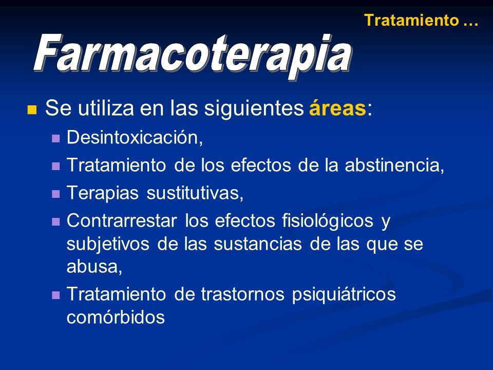 Farmacoterapia Se utiliza en las siguientes áreas: Desintoxicación,