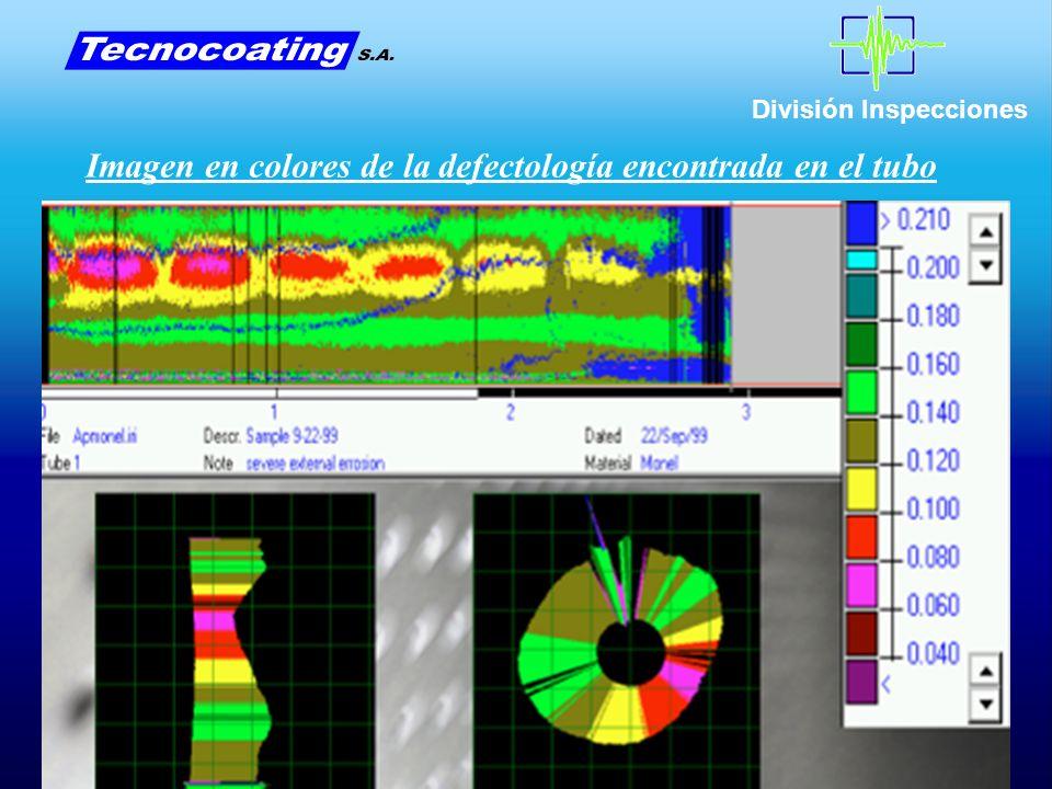 Imagen en colores de la defectología encontrada en el tubo