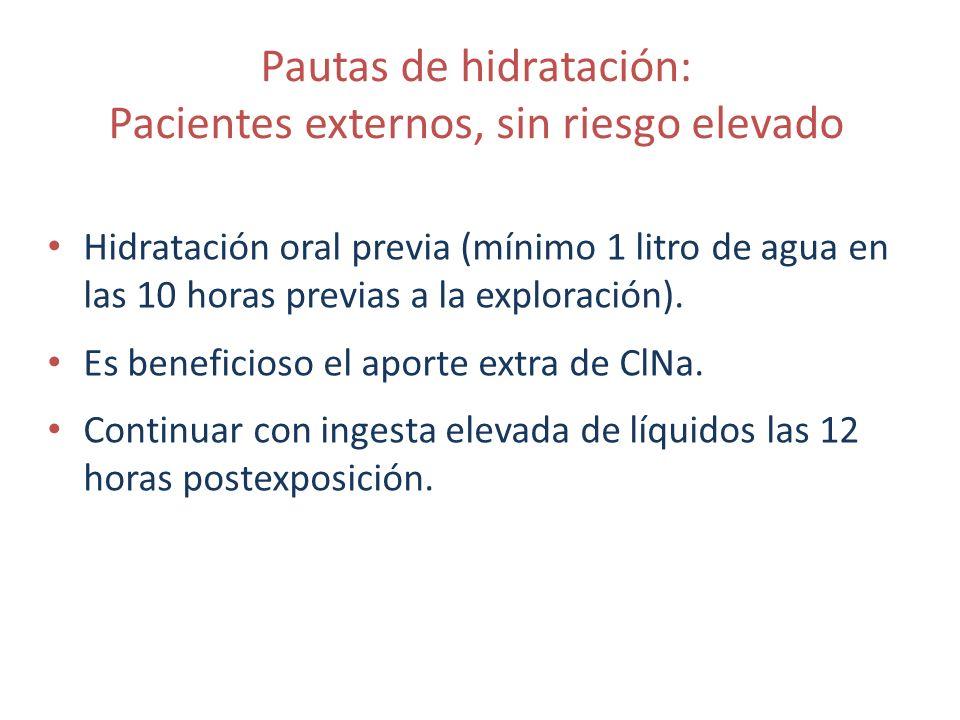 Pautas de hidratación: Pacientes externos, sin riesgo elevado