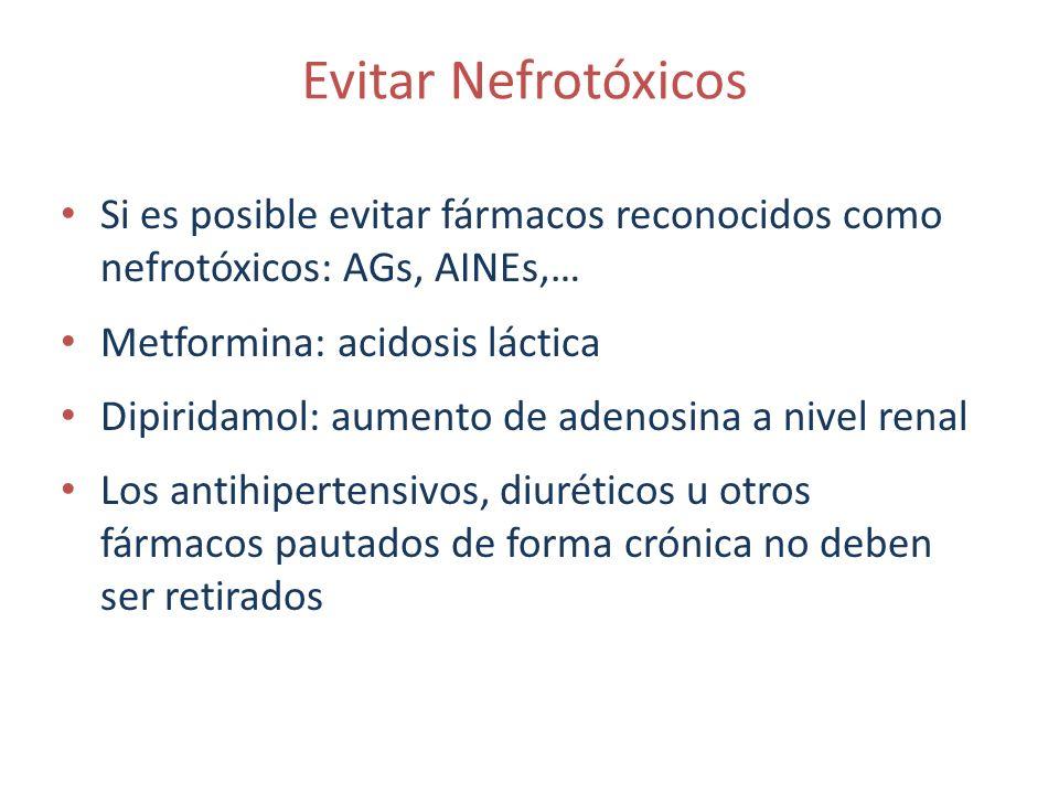 Evitar Nefrotóxicos Si es posible evitar fármacos reconocidos como nefrotóxicos: AGs, AINEs,… Metformina: acidosis láctica.