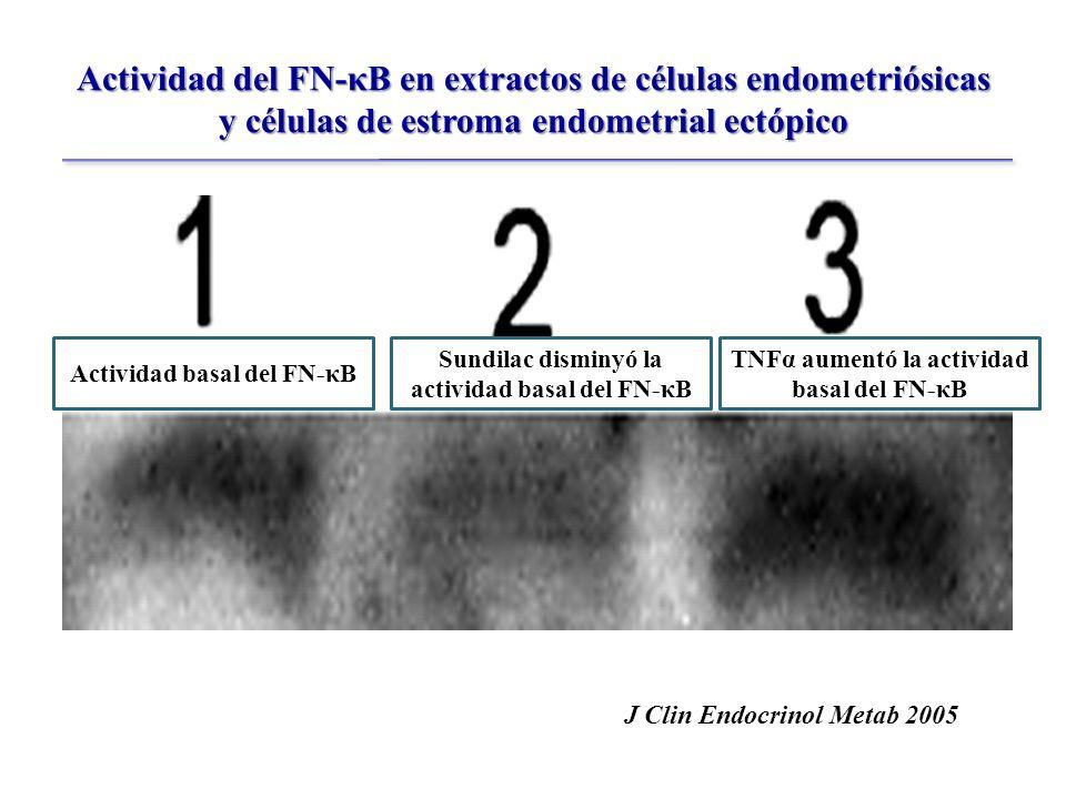 Actividad del FN-κB en extractos de células endometriósicas y células de estroma endometrial ectópico