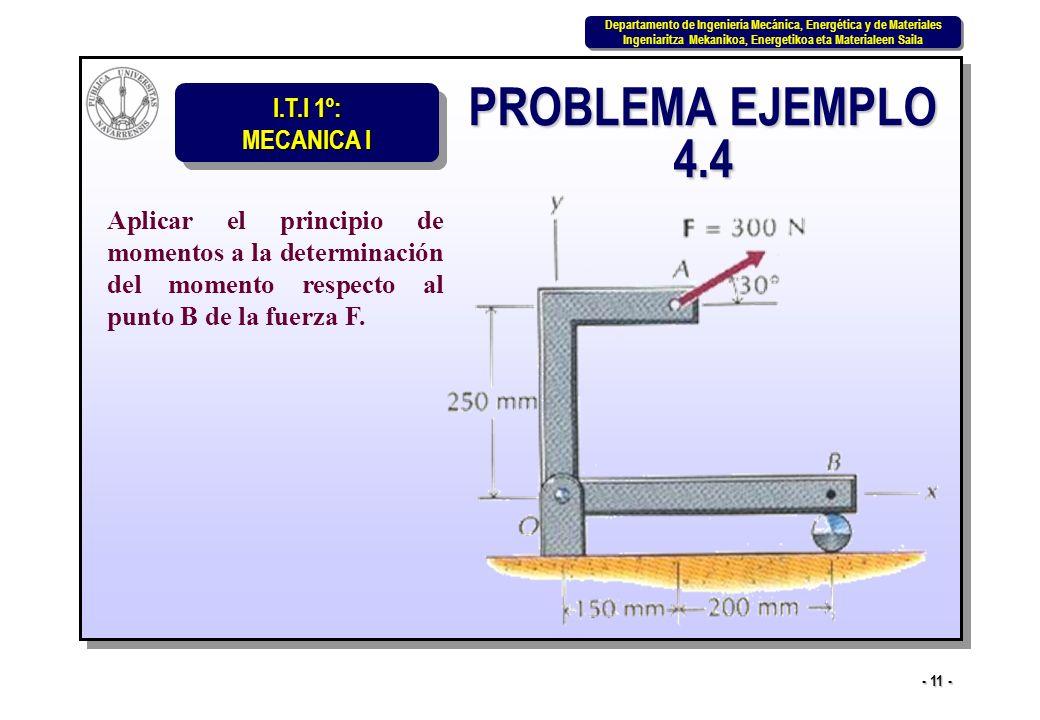 PROBLEMA EJEMPLO 4.4 Aplicar el principio de momentos a la determinación del momento respecto al punto B de la fuerza F.