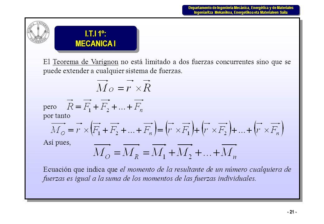 El Teorema de Varignon no está limitado a dos fuerzas concurrentes sino que se puede extender a cualquier sistema de fuerzas.