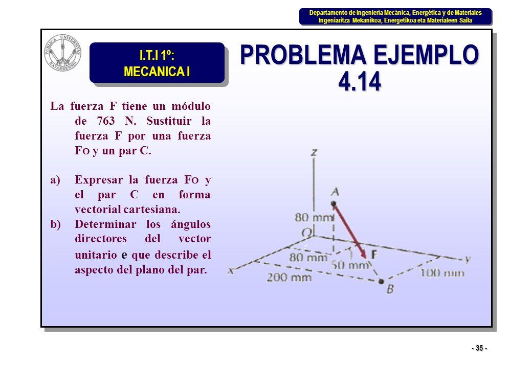 PROBLEMA EJEMPLO 4.14 La fuerza F tiene un módulo de 763 N. Sustituir la fuerza F por una fuerza FO y un par C.