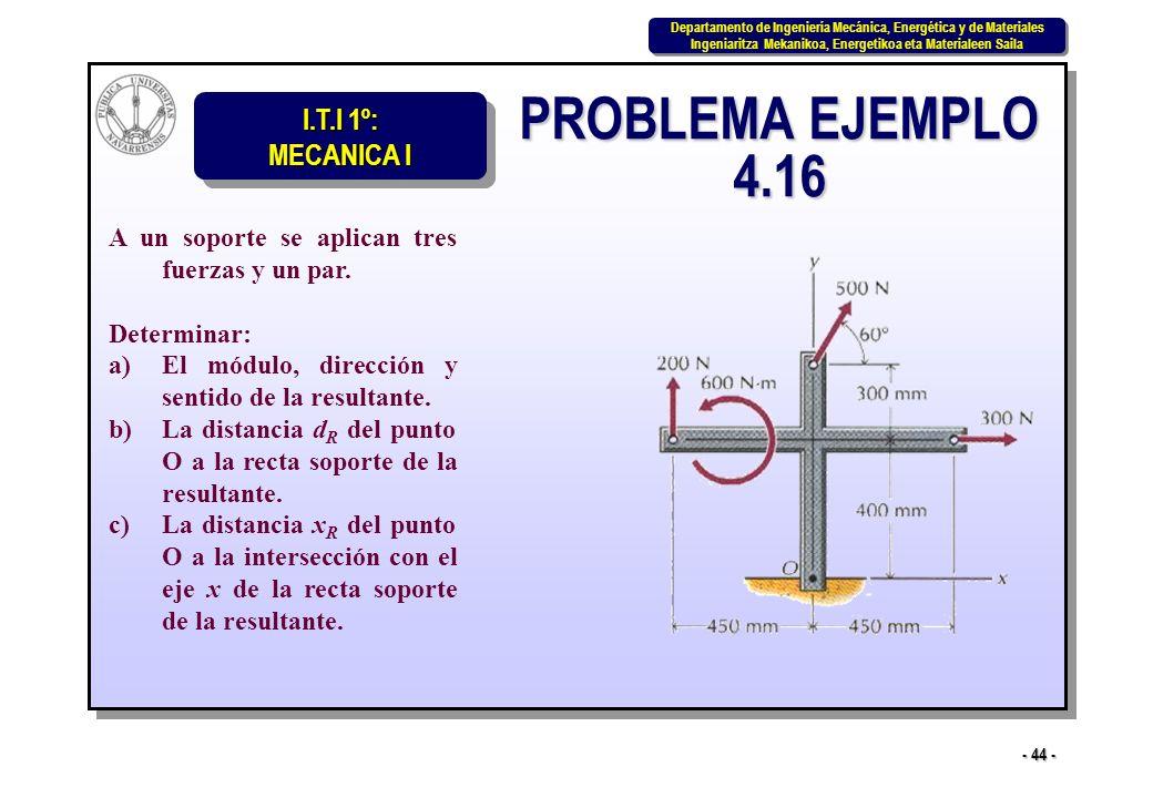PROBLEMA EJEMPLO 4.16 A un soporte se aplican tres fuerzas y un par.