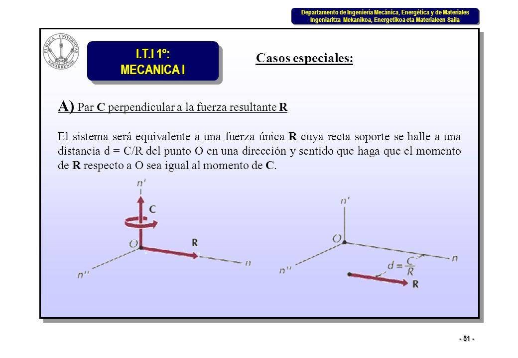 A) Par C perpendicular a la fuerza resultante R