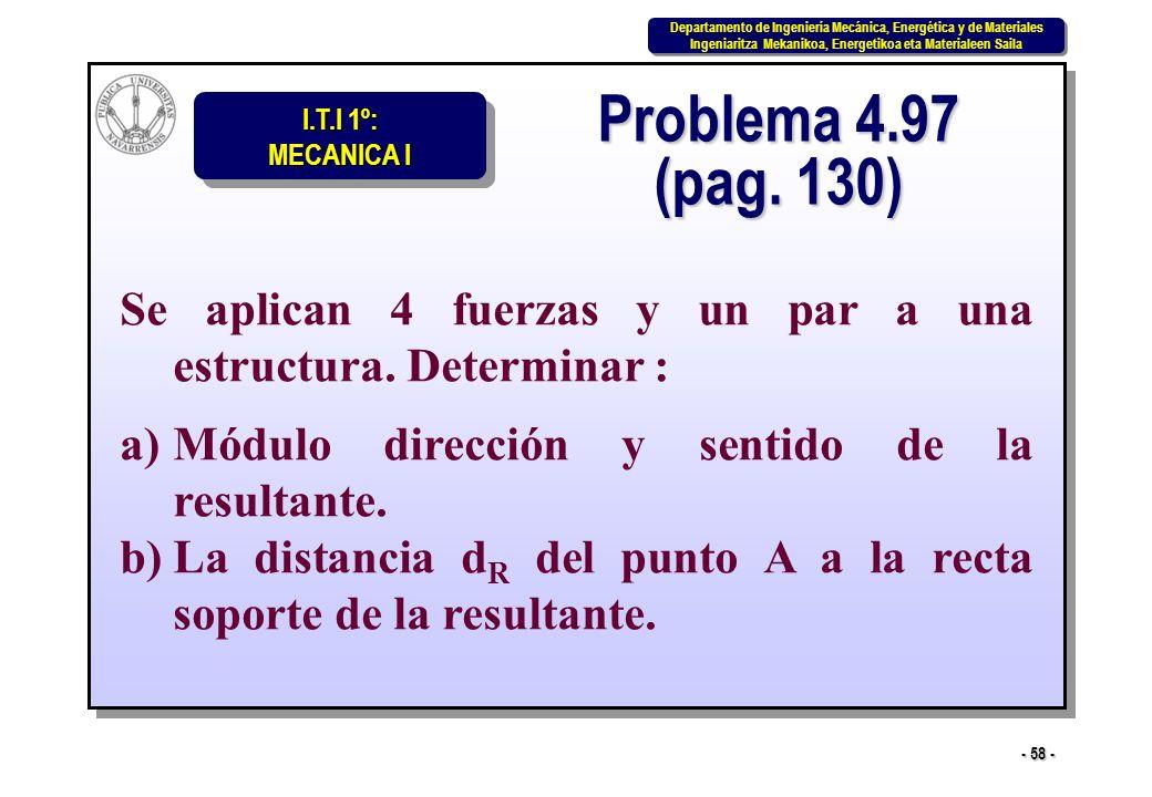 Problema 4.97 (pag. 130) Se aplican 4 fuerzas y un par a una estructura. Determinar : Módulo dirección y sentido de la resultante.