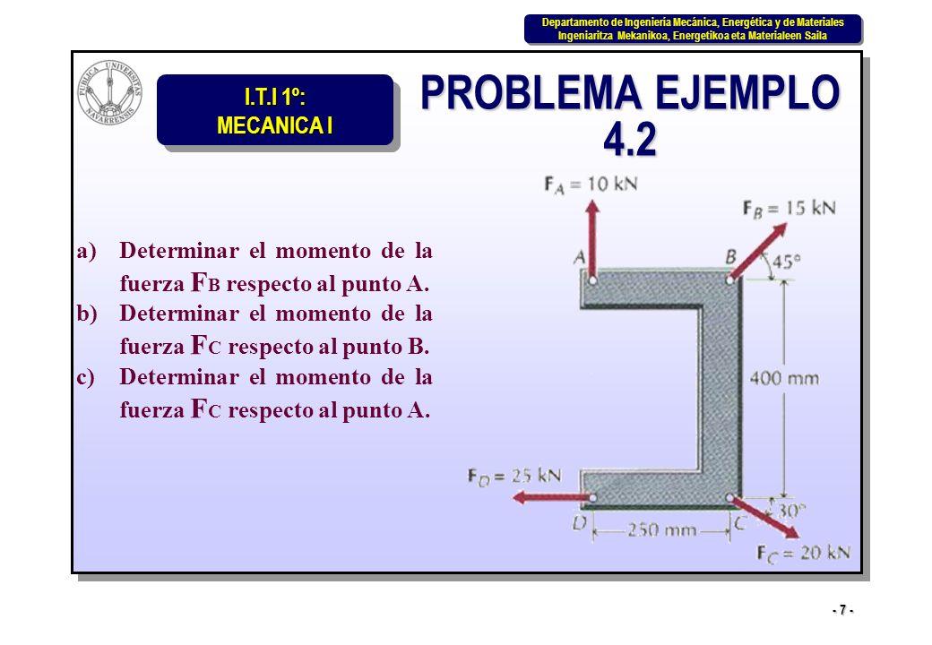 PROBLEMA EJEMPLO 4.2 Determinar el momento de la fuerza FB respecto al punto A. Determinar el momento de la fuerza FC respecto al punto B.
