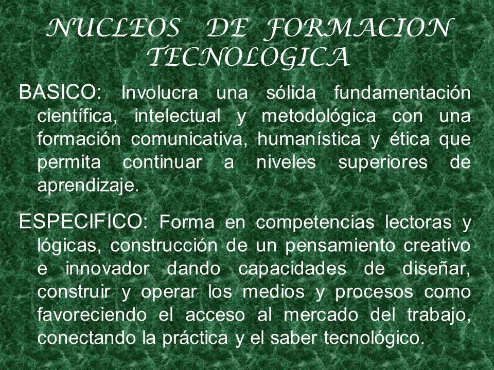 NUCLEOS DE FORMACION TECNOLOGICA