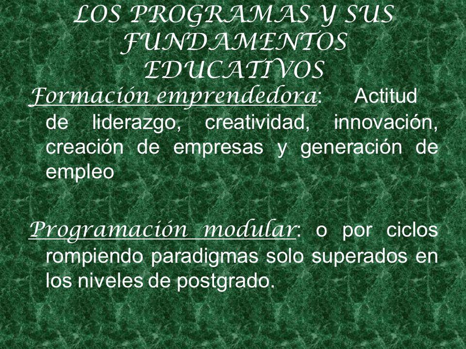 LOS PROGRAMAS Y SUS FUNDAMENTOS EDUCATIVOS