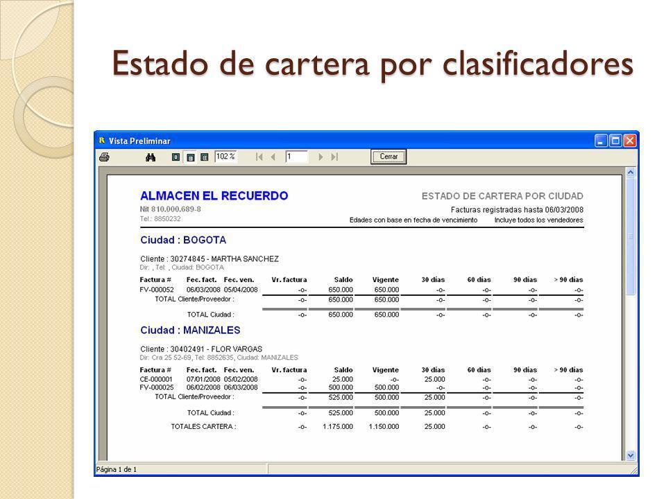 Estado de cartera por clasificadores