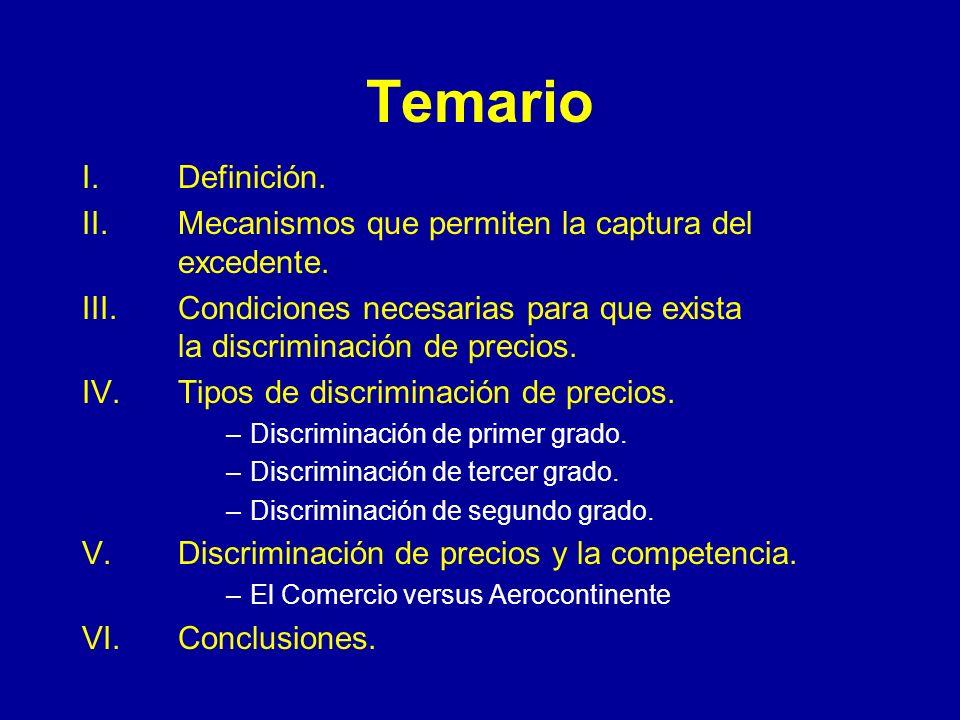 Temario I. Definición. II. Mecanismos que permiten la captura del excedente.