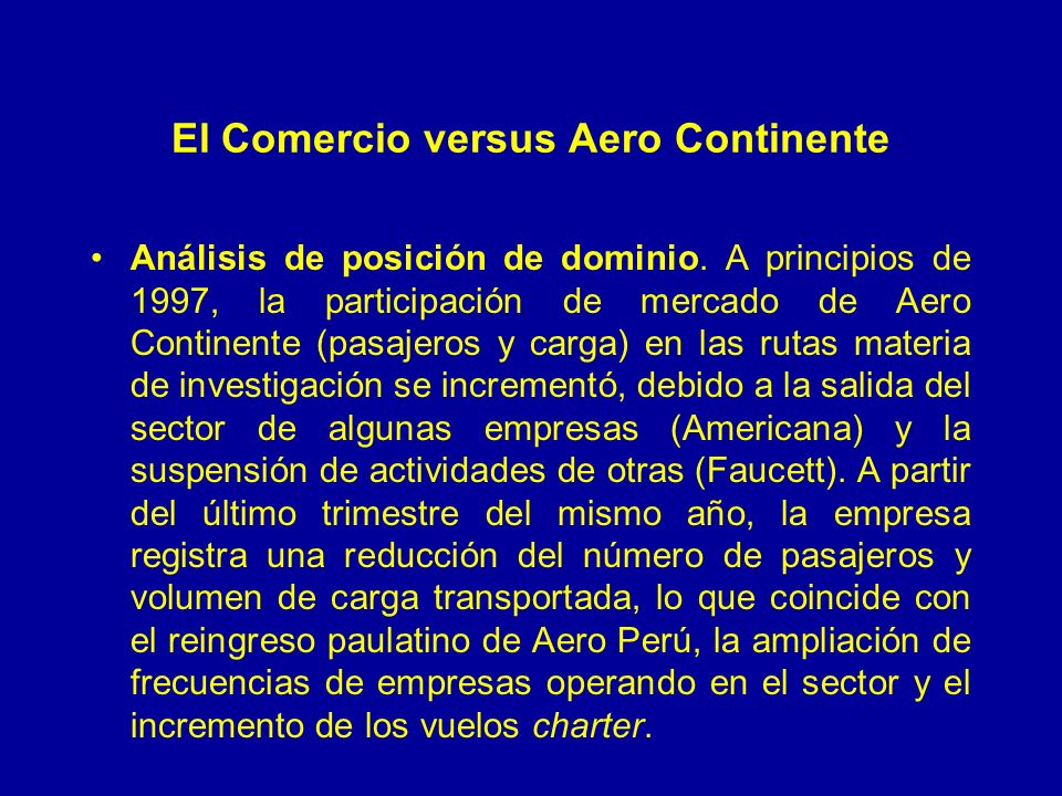 El Comercio versus Aero Continente