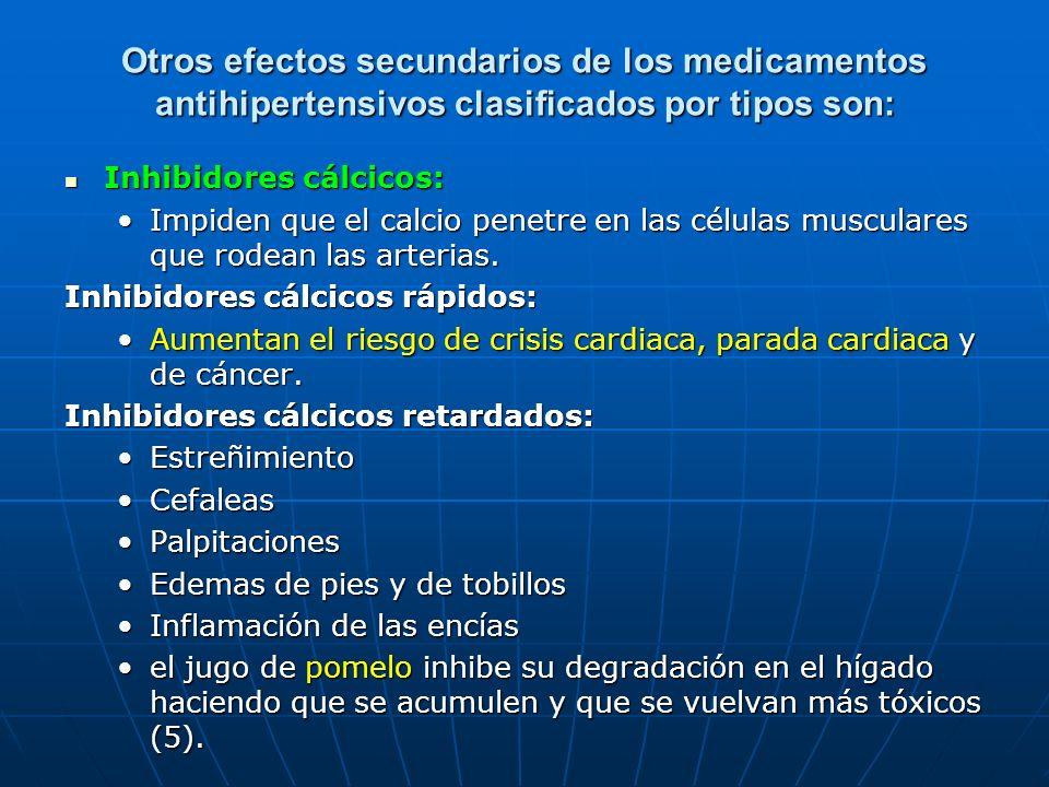 Otros efectos secundarios de los medicamentos antihipertensivos clasificados por tipos son:
