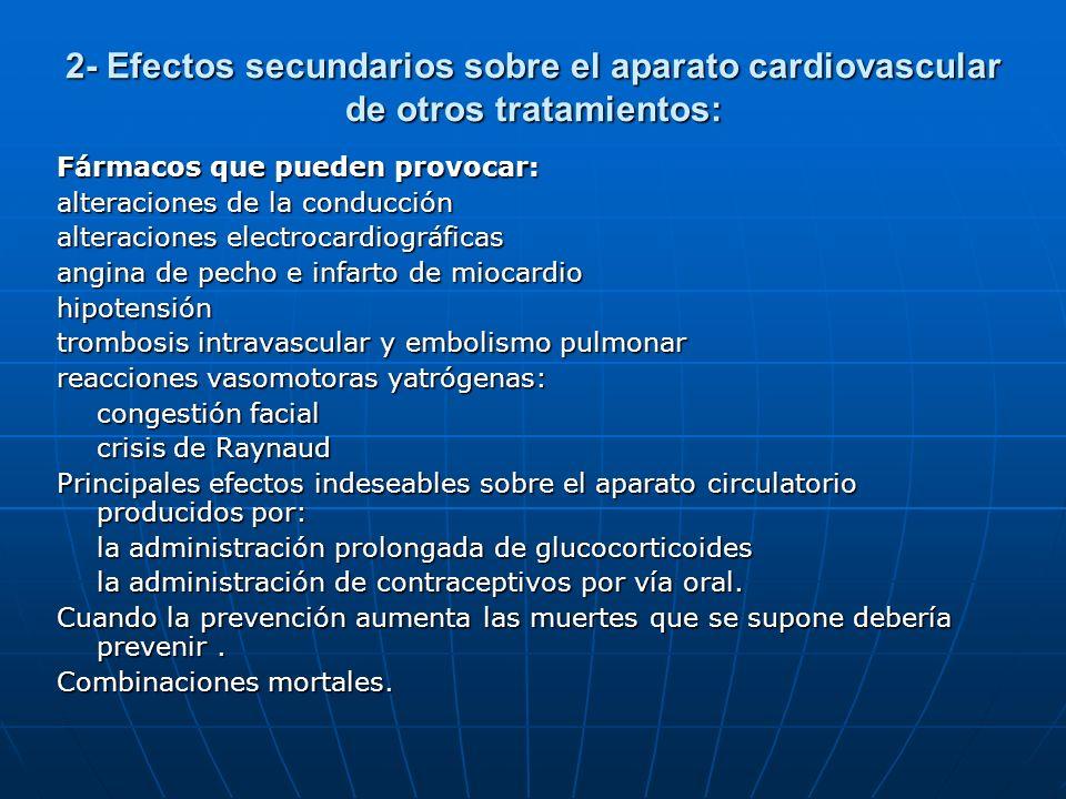 2- Efectos secundarios sobre el aparato cardiovascular de otros tratamientos: