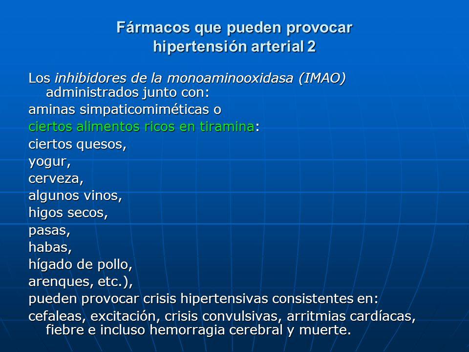 Fármacos que pueden provocar hipertensión arterial 2