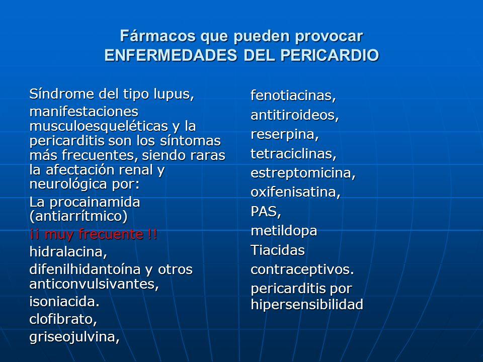 Fármacos que pueden provocar ENFERMEDADES DEL PERICARDIO