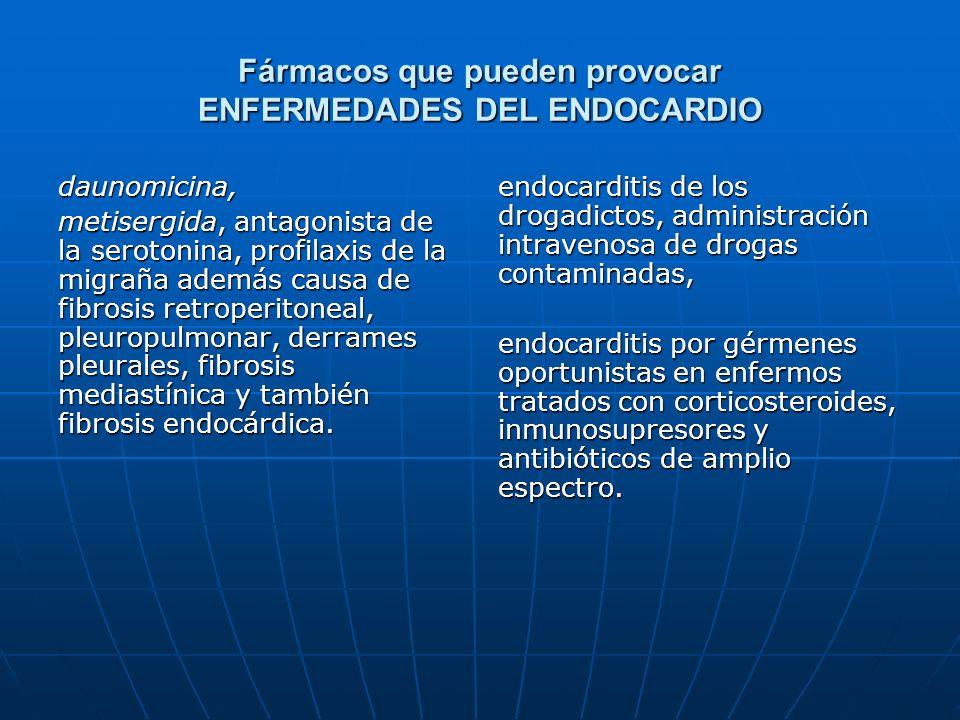 Fármacos que pueden provocar ENFERMEDADES DEL ENDOCARDIO
