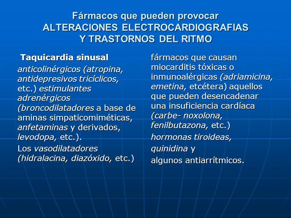 Fármacos que pueden provocar ALTERACIONES ELECTROCARDIOGRAFIAS Y TRASTORNOS DEL RITMO