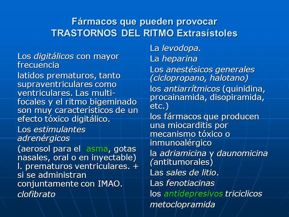 Fármacos que pueden provocar TRASTORNOS DEL RITMO Extrasístoles