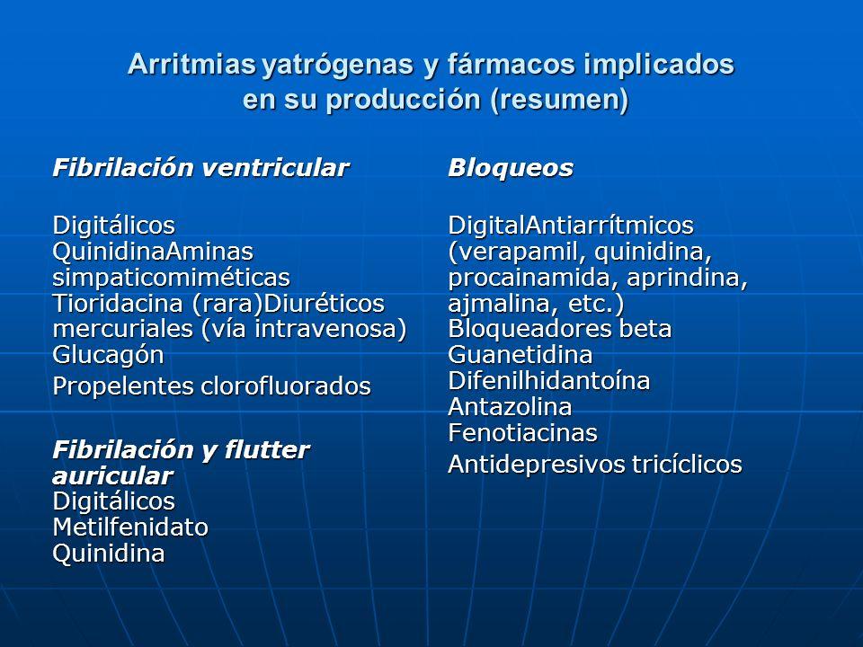 Arritmias yatrógenas y fármacos implicados en su producción (resumen)