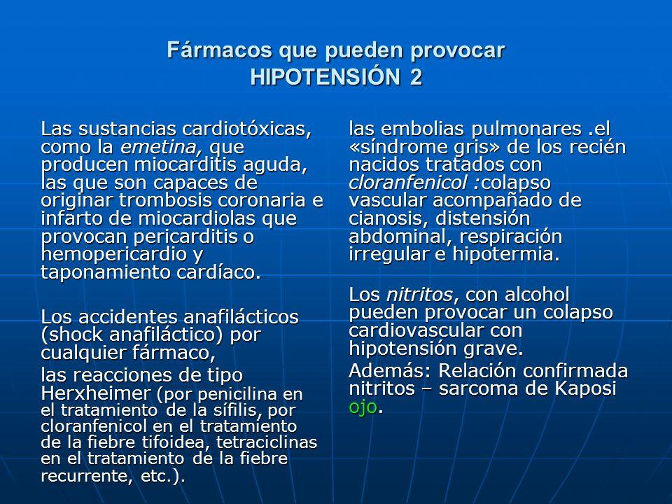 Fármacos que pueden provocar HIPOTENSIÓN 2