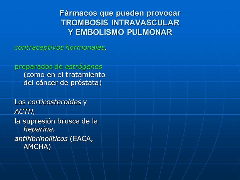 Fármacos que pueden provocar TROMBOSIS INTRAVASCULAR Y EMBOLISMO PULMONAR