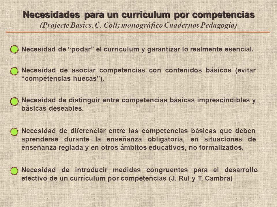 Necesidades para un curriculum por competencias