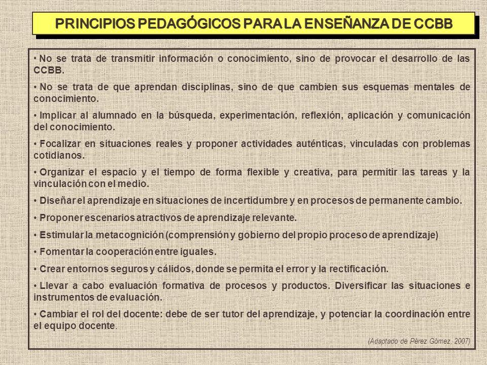 PRINCIPIOS PEDAGÓGICOS PARA LA ENSEÑANZA DE CCBB