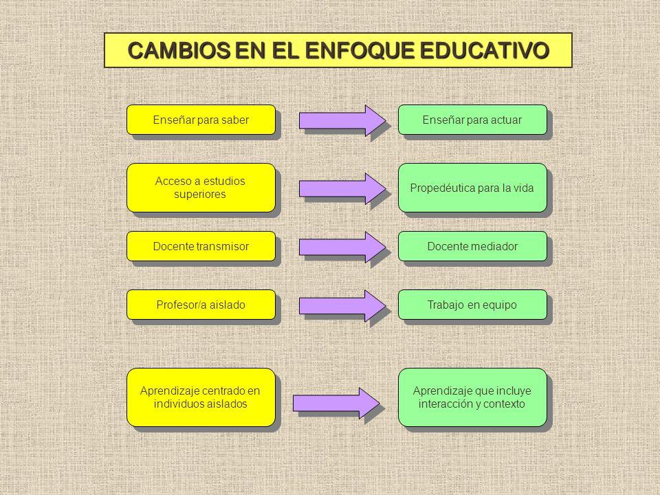 CAMBIOS EN EL ENFOQUE EDUCATIVO
