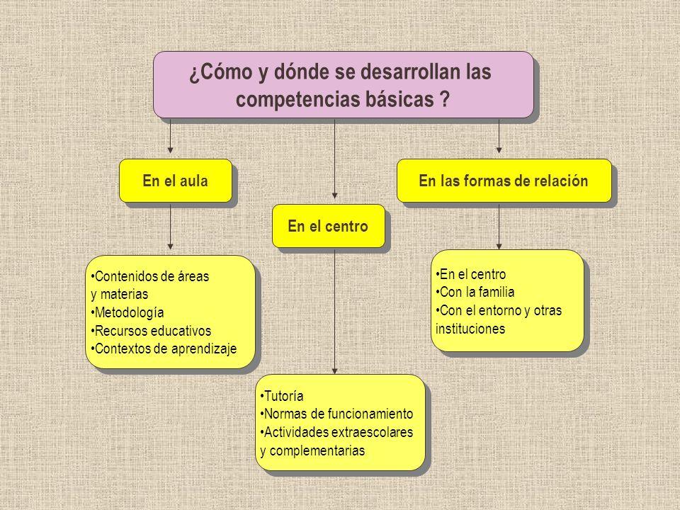 ¿Cómo y dónde se desarrollan las En las formas de relación
