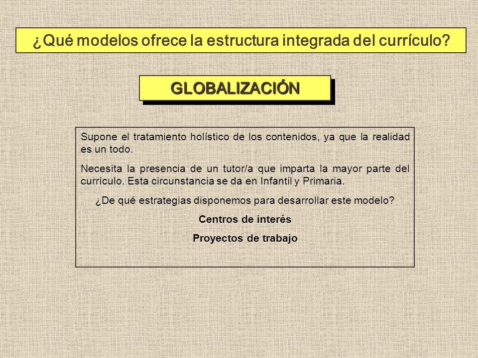 ¿Qué modelos ofrece la estructura integrada del currículo