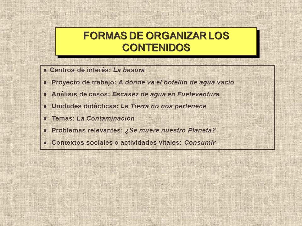 FORMAS DE ORGANIZAR LOS CONTENIDOS