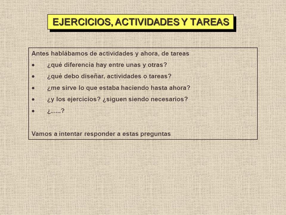 EJERCICIOS, ACTIVIDADES Y TAREAS